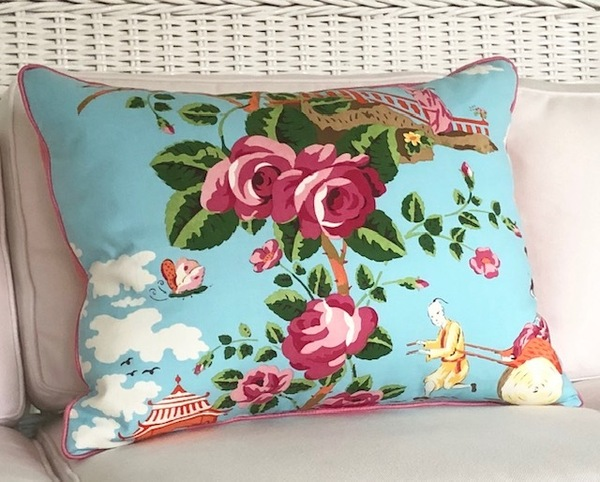 Chinoiserie Pillow with a Pop
