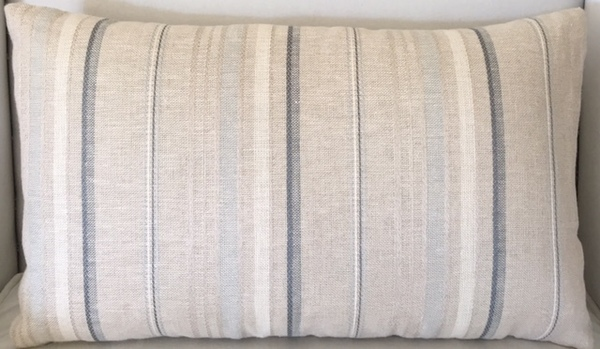 Blues and Grey Striped Pillow