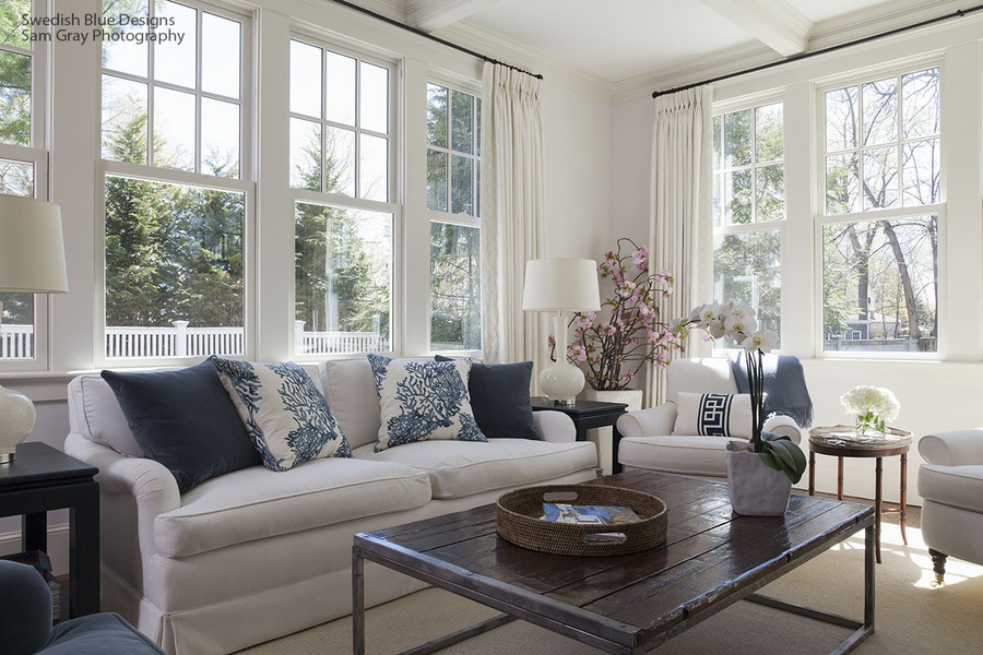 Family Room in Indigo and White