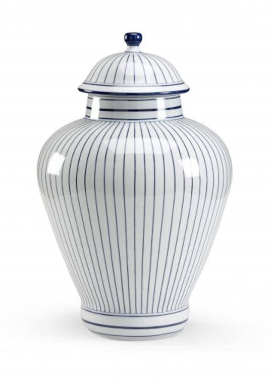 Blue Pin Striped Jar