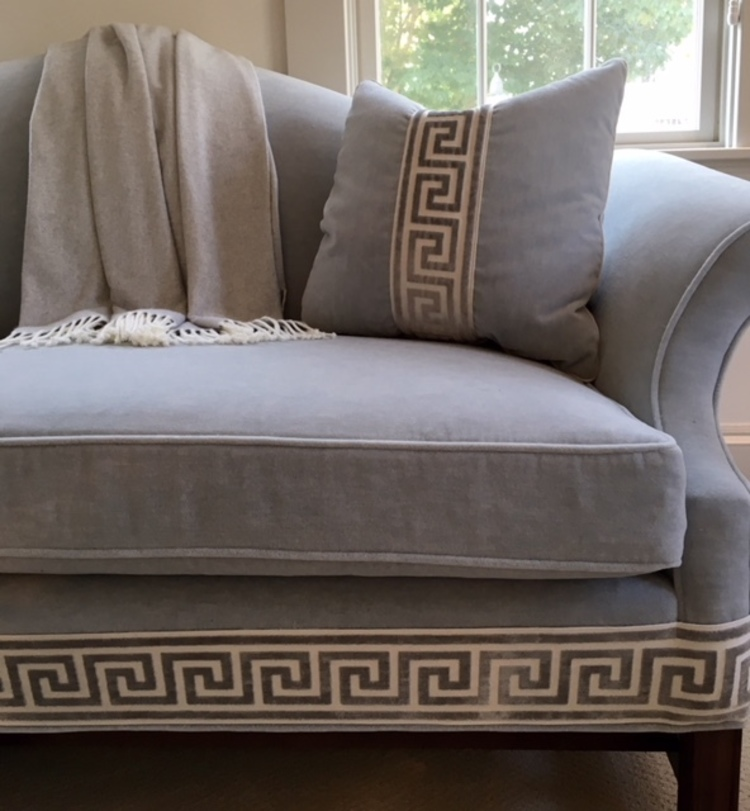 Upholstered Mohair and Greek Key Trim
