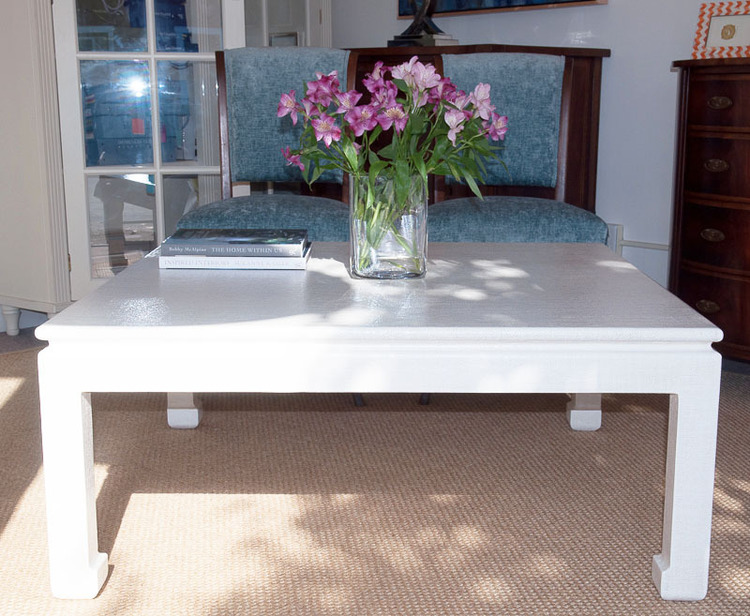 Linen Wrapped Coffee Table - Ming or Parsons