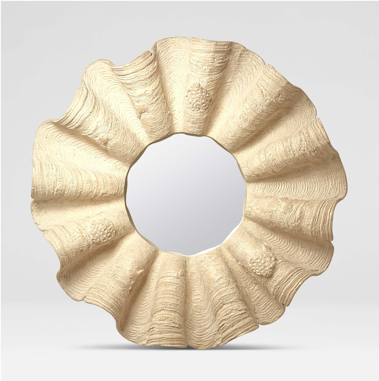 Clamshell Mirror in White or Gold