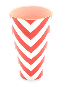Orange Chevron Vase  Large