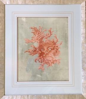 Coral Print in LarsonJuhl Capriz Shell Frame
