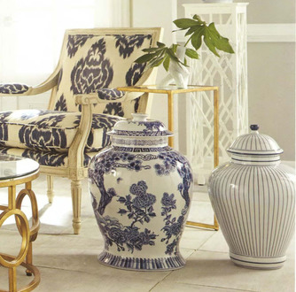 Blue Vases Ikat Chair and Coffee Table